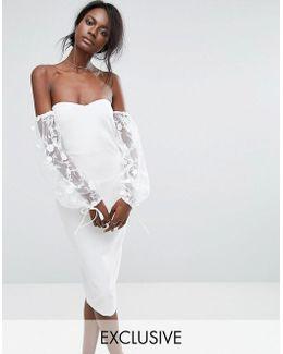Bardot Embroidered Puff Sleeve Dress