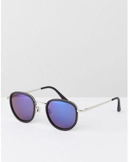 Round Sunglasses With Blue Mirror Lens