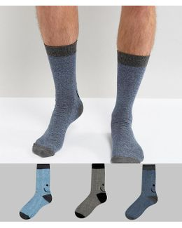 Socks With Extended Sizing & Nep Happy Faces Design 3 Pack