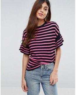Stripe T-shirt With Flutter Sleeve