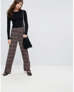 Lommo Ditsy Floral Print Wide Leg Trousers