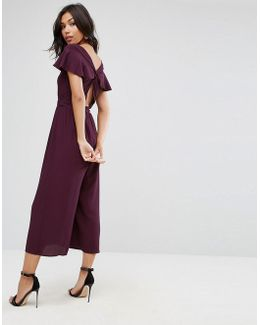 Jumpsuit With Twist Back And Frill Detail