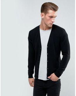 100% Merino Cardigan In Black