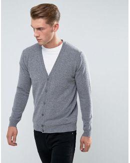 100% Merino Cardigan In Grey