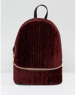Velvet Crinkle Zip Base Backpack