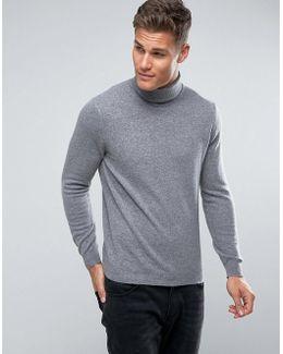 100% Merino Roll Neck Jumper In Grey