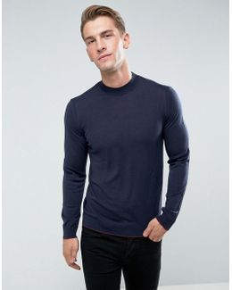 Jumper With High Neck In 100% Merino