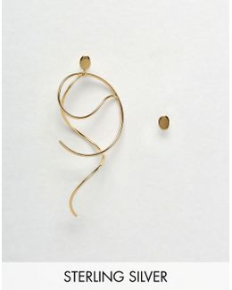 Gold Plated Sterling Silver Mismatch Swirl Earrings