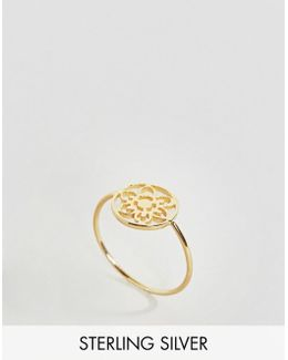 Gold Plated Sterling Silver Pretty Filigree Ring