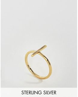 Gold Plated Sterling Silver Bar Ring