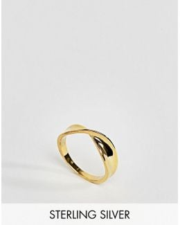Gold Plated Sterling Silver Twist Band Ring