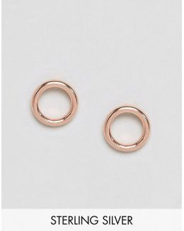 Rose Gold Plated Sterling Silver Donut Stud Earrings