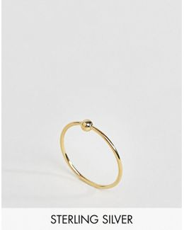 Gold Plated Sterling Silver Ball Station Ring