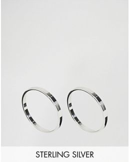 Sterling Silver Pack Of 2 Flat Faced Rings