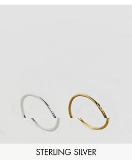 Gold Plated Sterling Silver Pack Of 2 Mixed Rings