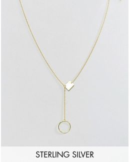 Gold Plated Sterling Silver Open & Solid Shapes Necklace