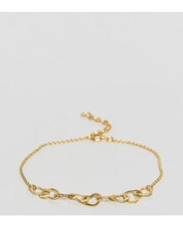 Gold Plated Sterling Silver Mini Linked Hearts Bracelet