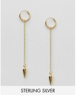Gold Plated Sterling Silver Fine Spike Hoop Earrings