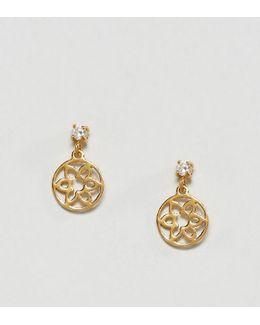 Gold Plated Sterling Silver Fine Flower Disc Earrings