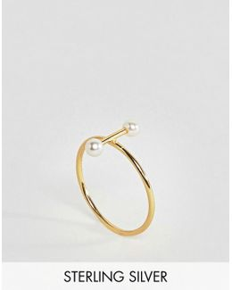 Gold Plated Sterling Silver Pearl Bar Ring
