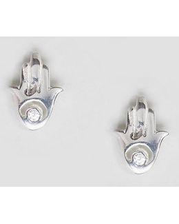 Sterling Silver Hamsa Hand Earrings