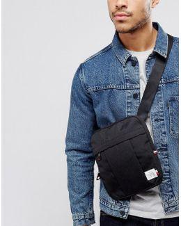 Nylon Label Flight Bag In Black