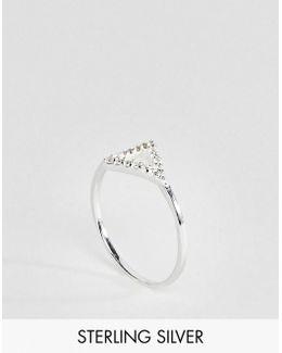 Sterling Silver Pave Crystal Triangle Ring