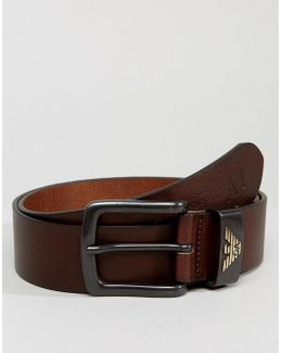 Leather Logo Belt In Brown