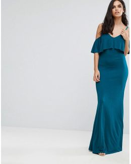 Cold Shoulder Overlay Frill Detail Maxi Dress