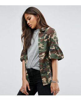 Camo Jacket With Fluted Sleeve