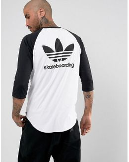 Adidas Skateboarding Raglan T-shirt In White Br4937