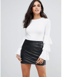 Layered Sleeve Detail Scuba Crepe Top