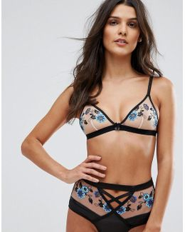 Floral Embroidered Triangle Bra