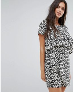 Star Print Shift Dress With Front Frill