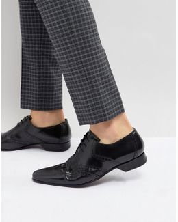 Escobar Brogue Leather Shoes In Black