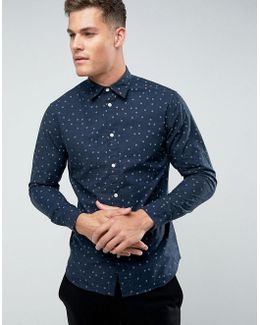Shirt In Slim Fit With All Over Ditsy Print