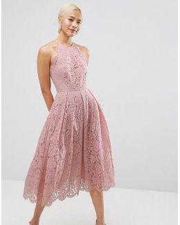 Lace Pinny Scallop Edge Prom Midi Dress