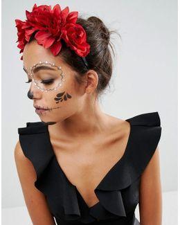Halloween Midnight Floral Garland Headband