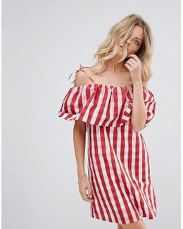 Gingham Bardot Smock Dress