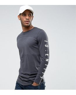 Core Long Sleeve Top With Panels And Sleeve Print