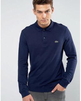 Slim Fit Long Sleeve Pique Polo In Navy