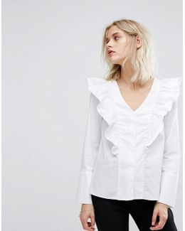 Ruffle V Front Blouse