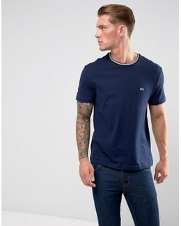 Logo Tipped Colar T-shirt In Navy