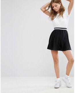Pleated Mini Skirt With Sports Tipped Waistband