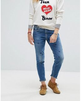 Indigo Heart Print Jeans