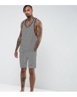 Pajama Set Racer Tank &pajama Bottoms In Stripe Velour