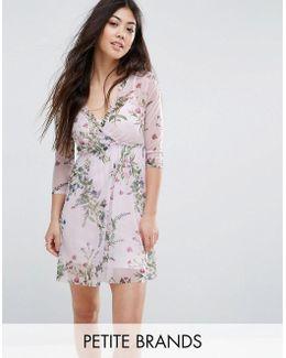 Floral Print Wrap Mesh Dress