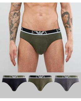 3 Pack Logo Brief In Grey/khaki/black