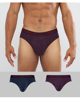 2 Pack Logo Brief In Navy & Burgundy Print