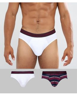 Emporio Armnai 2 Pack Logo Brief In White & Burgundy Stripe